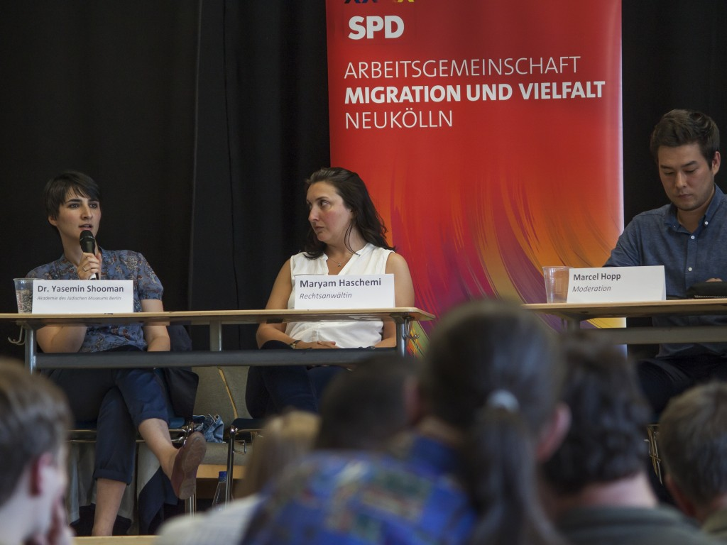v.l.n.r.: Dr. Yasemin Shooman, Maryam Haschemi, Marcel Hopp Foto: Maximilian Neudert